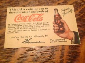 Early 1900's Coca Cola Drink Ticket By Thomas