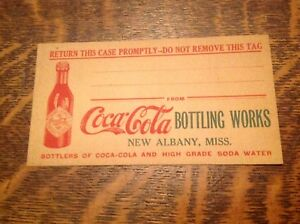 Coca Cola Vintage Bottling Works  New Albany  Mississippi. Case Tag