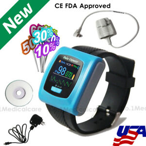 Usps Wrist Pulse Oximeter 24h Daily Night Recorder pc Software With Alarm fda Ce