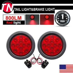 2 X 4 Superflux 12 Led Red Round Tail Stop Brake Signal Lights Truck Trailer Us