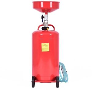 Oil Drain Tank Air Operate Drainer Portable Wheel Hose 20 Gallon Waste Capacity