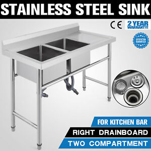 2 Compartment Handmade Sink W Right Drain Board Service Stainless Steel Square