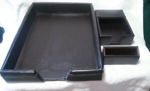 Bey Berk 3 Piece Dk Brown Leather Desk Legal Paper Tray Note Paper Business Card