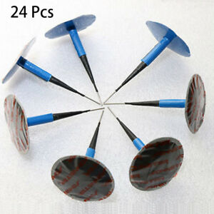 24x Car Vehicle Tubeless Tyre Puncture Repair Kit Wired 36mm Mushroom Plug Patch