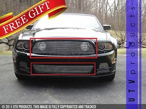 Gtg 2013 2014 Ford Mustang Gt 2pc Polished Custom Combo Billet Grille Grill Kit