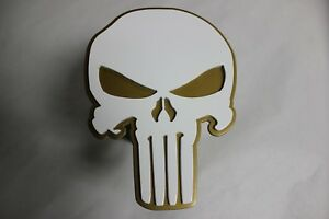 Gtg White Gold Punisher Skull Hitch Cover Plug For Trailer Ball Receiver Towing