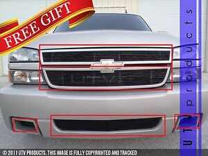 Gtg 2006 Chevy Silverado 1500 Ss 5pc Gloss Black Overlay Combo Billet Grille Kit