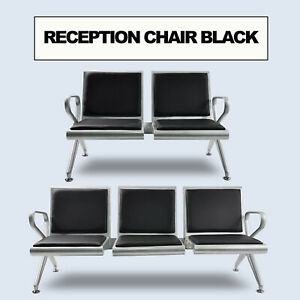 Waiting Room Reception Chair Airport Office Pvc Leather Cushion Black Hospital