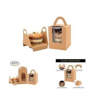 Kraft Cupcake Boxes 50 Pack With Inserts Single Window And Handle Pastry Muffins