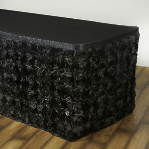 14 Black Satin Roses Table Skirt Tradeshow Wedding Party Catering Supplies