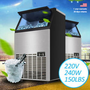 220v 240w Commercial Automatic Ice Cube Maker Machine 68kg 150lbs Restaurant Nbs