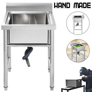 Stainless Steel Utility Sink For Commercial Kitchen 23 5 Wide Handmade Sinks