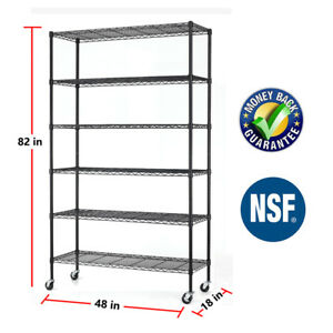 48 x18 x82 Heavy Duty 6 Tier Shelving Rack Steel Wire Metal Shelf Adjustable