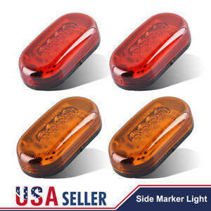 4x Red Amber Oval 10 Led Side Marker Trailer Lights Surface Mount Truck 4 X 2
