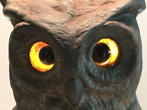 Antique Rostand Owl Andirons Amber Eyes Fireplace Tools Stand