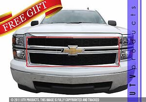 Gtg 2014 2015 Chevy Silverado 1500 2pc Gloss Black Custom Overlay Billet Grille