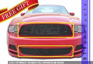 Gtg 2013 2014 Ford Mustang V6 2pc Gloss Black Custom Combo Billet Grille Kit