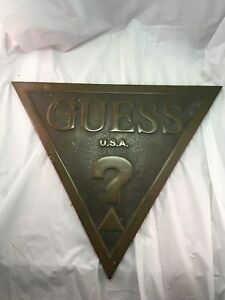 Vintage Brass Large 90s Guess Usa Building Store Plaque Logo Triangle Sign Ad