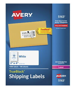 Avery Permanent adhesive Shipping Labels With Trueblock Technology For Laser