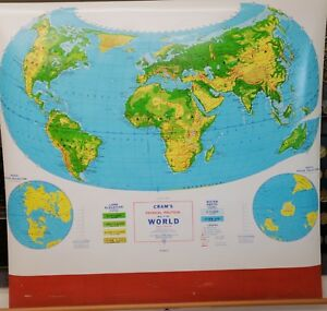 Cram S Map Of The World Pull Down Map No Cspd 5 Cram S Physical Political