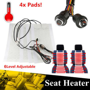 4x Car Seat Carbon Fiber Heated Cushion Seat Heater Pad Hi Off Lo Switch Kit 12v