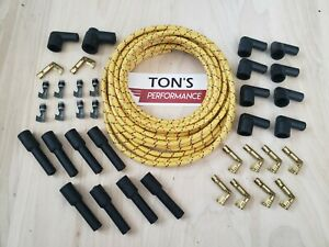 8mm Diy Universal Cloth Covered Spark Plug Wire Kit Vintage Wires V8 Yellow B R