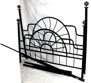 Vintage Black Iron Bed Frame Head Board Foot Board Rails Full Size