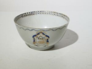 Antique 18th C Chinese Qianlong Heraldic Tea Bowl Federal Style Export Porcelain