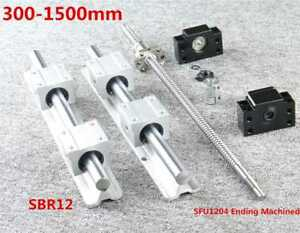 12mm Sbr12 Linear Rail Set Sfu1204 Ballscrew Kit For Cnc 300 1500mm Us Stock