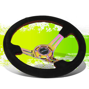 Nrg Rst 018s mcrs Neo Chrome Spoke Suede W red Stitch 35cm 3 deep Steering Wheel