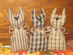 3 Handmade Fall Fabric Cats Bowl Fillers Primitive Country Halloween Decor