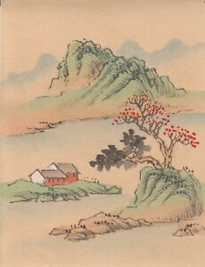 Hand Painted Japanese Miniature Ink Drawing On Rice Paper C 1930s