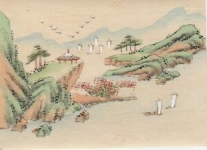 Hand Painted Japanese Miniature Ink Drawing W Sailboats On Rice Paper C 1930s