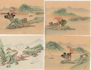 Hand Painted Japanese Miniature Ink Drawings On Rice Paper C1930s Lot Of 4