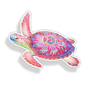 Sea Turtle Sticker Tribal Pink Purple Car Laptop Cup Cooler Beach