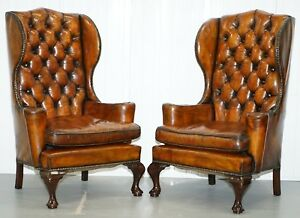 Thomas Chippendale Chesterfield Victorian Wingback Armchairs Brown Leather Pair