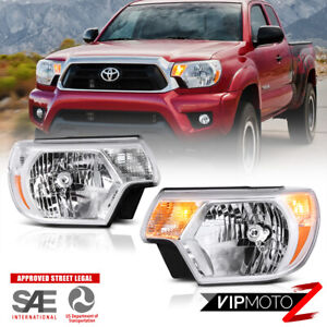 For 12 15 Toyota Tacoma Left Right Front Replacement Chrome Clear Headlight Lamp