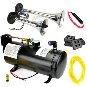 Train Horn Kit Loud Dual 2 Trumpet With 120 Psi Air Compressor System