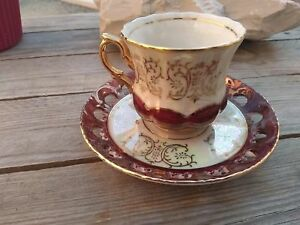 Vintage Tea Cup Shirakabe China Top Japanese Porcelain Painted Thread Gold