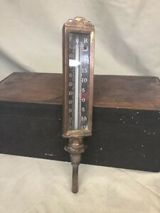 Antique Brass Thermometer Temperature Gauge For Stationary Steam Hit Miss Engine