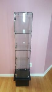 Glass Display Case Store With Stand Fixture Boutique Showcase Lock 3 Shelf