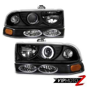 Black Halo Projector Headlight amber Bumper Parking Lamp 98 04 Chevy Blazer S10