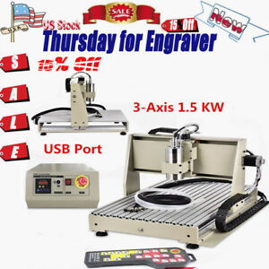 5 Off 3 Axis Cnc 6040t Usb Router Engraver 1 5kw Vfddrilling Milling Machine Us