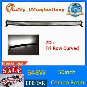 Curved 42inch 540w Tri Row Led Light Bar Work Combo Driving Fog Truck 7d Pk 240
