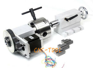 4th Axis Router Rotational Axis 3 Chuck With Tailstock For Cnc Engraving Machine