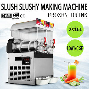 2 X15l Slush Slushy Making Machine 30l Commercial Frozen Drink Slushy Machine