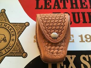 Tex Shoemaker 204b Brown Basketweave Leather Double Cuff Case Handcuff Holder