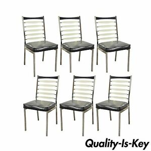 Set 6 Vintage Mid Century Modern Daystrom Chrome Lucite Ladderback Dining Chairs