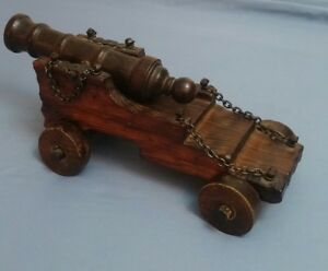 Vintage Carved Wooden Cannon