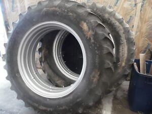 Farmall 756 Diesel Farm Tractor Rear Tires Rims 16 9 X 38 no Fluid